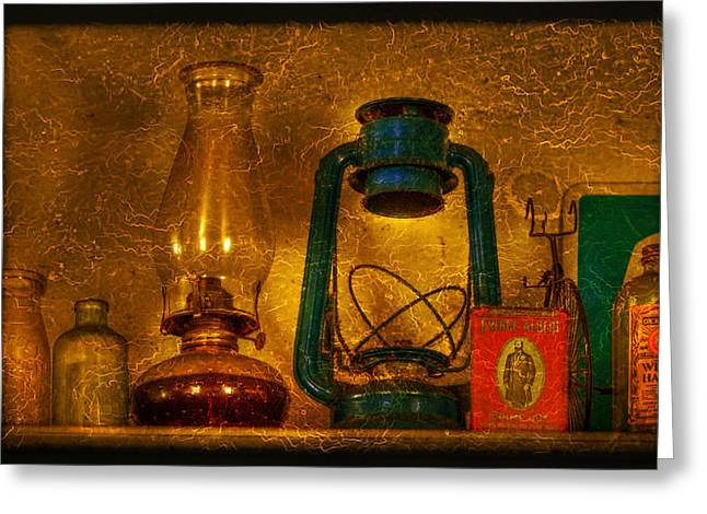 Bottles and Lamps Greeting Card by Evelina Kremsdorf