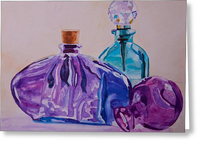 Bottles And Stoppers Greeting Card by Jenny Armitage
