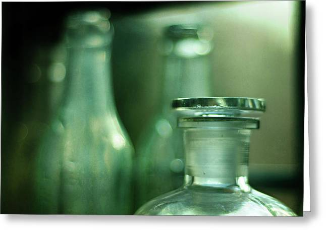 Bottles In The Window Greeting Card by Rebecca Sherman