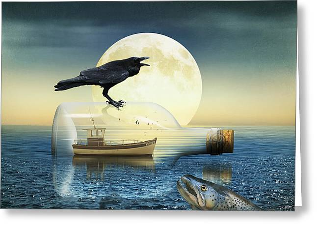 Sea Moon Full Moon Greeting Cards - Bottleship in trouble Greeting Card by Monika Juengling