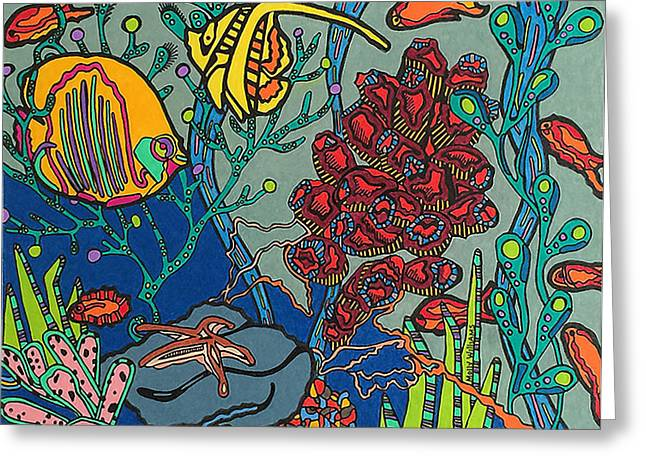 Aquarium Fish Drawings Greeting Cards - Bottom of the Sea Greeting Card by Molly Williams