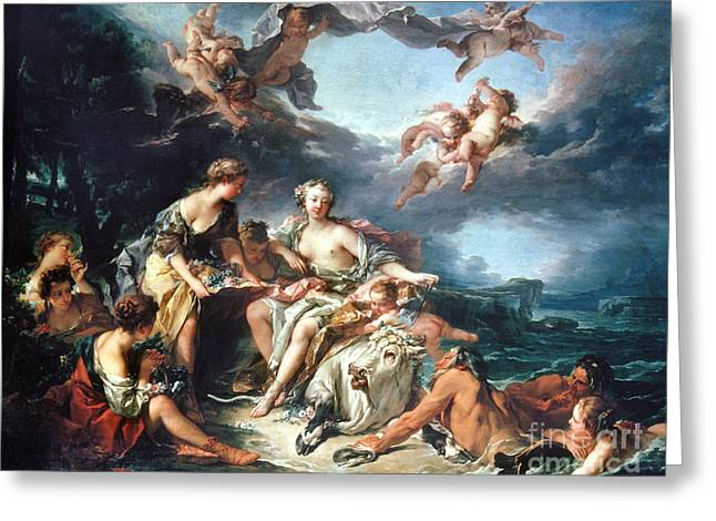 Boucher: Abduction/europa Greeting Card by Granger