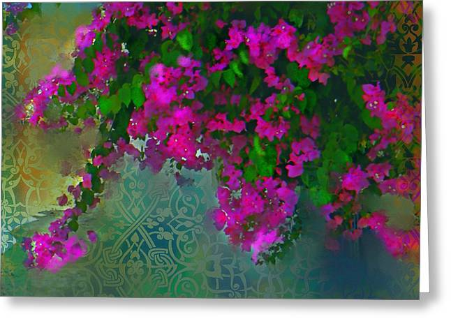 Garden Scene Mixed Media Greeting Cards - Bougainville Delight Greeting Card by Seema Sayyidah