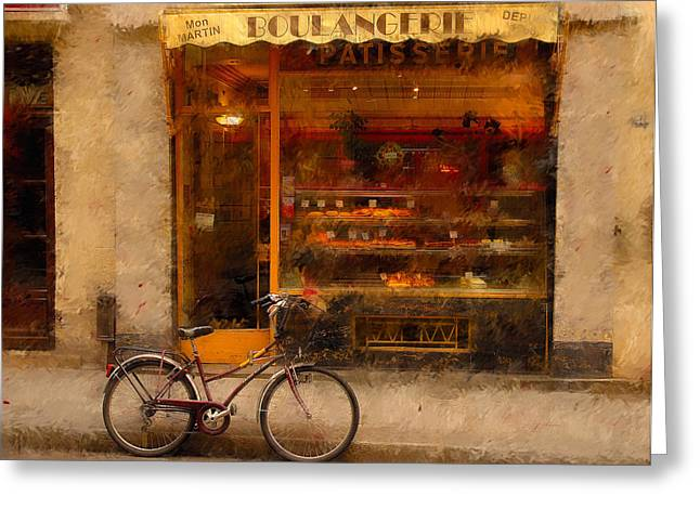 Paris Shops Greeting Cards - Boulangerie and Bike 2 Greeting Card by Mick Burkey