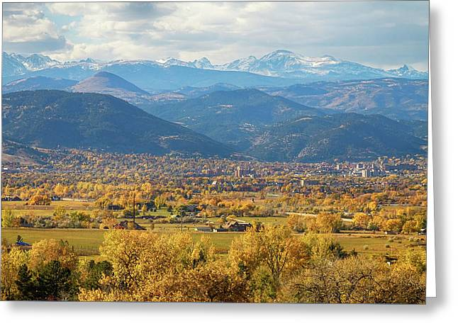 Snow Capped Greeting Cards - Boulder Colorado Autumn Scenic View Greeting Card by James BO  Insogna