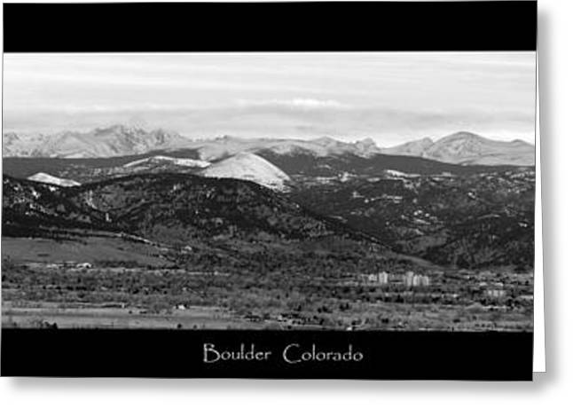 Colorado Mountain Posters Greeting Cards - Boulder Colorado BW Panorama Greeting Card by James BO  Insogna