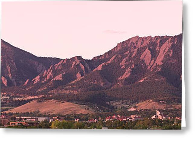 Pictures Photographs Greeting Cards - Boulder Colorado Flatirons 1st Light Panorama Greeting Card by James BO  Insogna