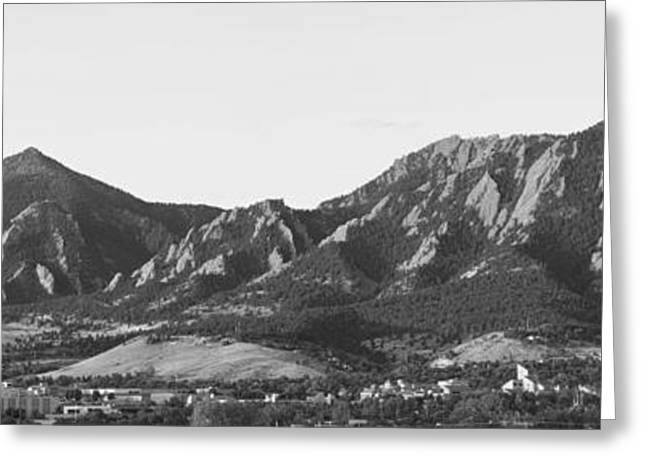 Cu Boulder Art Greeting Cards - Boulder Colorado Flatirons and CU Campus Panorama BW Greeting Card by James BO  Insogna