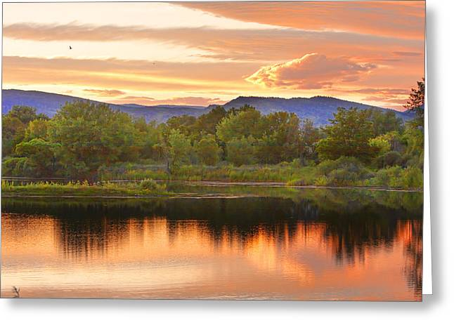 Sunset Posters Greeting Cards - Boulder County Lake Sunset landscape 06.26.2010 Greeting Card by James BO  Insogna