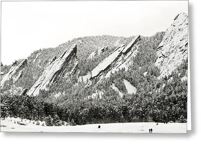 Snowy Field Greeting Cards - Boulder Flatirons Colorado 1 Greeting Card by Marilyn Hunt