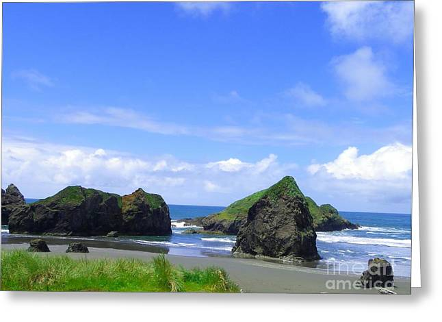 Blue Green Wave Greeting Cards - Boulders in Oregon Greeting Card by Charleen Treasures
