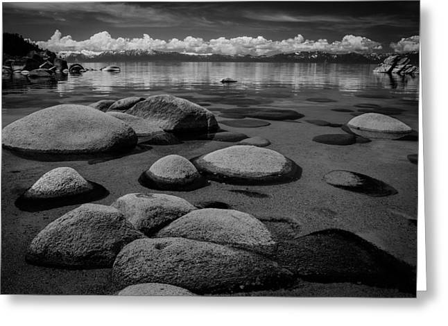 Storm Clouds Pyrography Greeting Cards - Boulders in the Lake Greeting Card by Rick Strobaugh