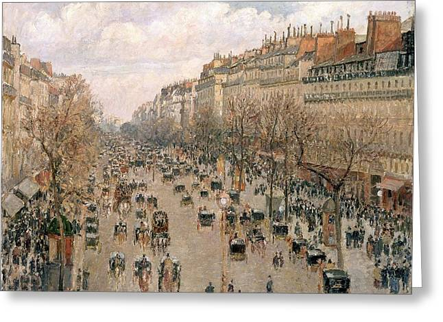 Pissarro; Camille (1830-1903) Greeting Cards - Boulevar Montmartre Greeting Card by Celestial Images