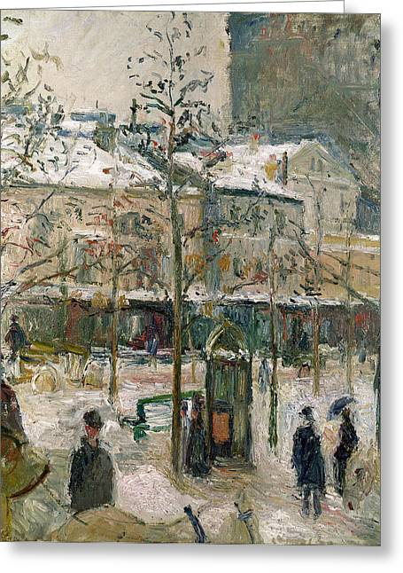 Boulevard De Rocheouart In Snow Greeting Card by Camille Pissarro