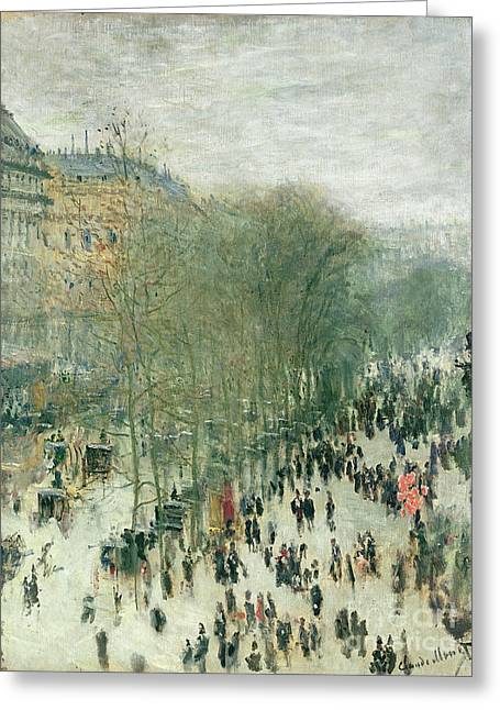 Streetscape Paintings Greeting Cards - Boulevard des Capucines Greeting Card by Claude Monet
