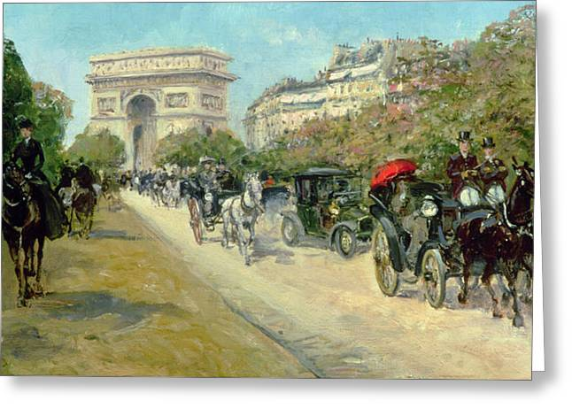 Arc De Triomphe Greeting Cards - Boulevard in Paris Greeting Card by Georges Stein