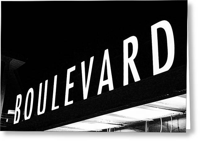 Boulevard Lights Up The Night Greeting Card by Angie Rayfield