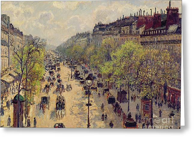 Parisian Greeting Cards - Boulevard Montmartre Greeting Card by Camille Pissarro