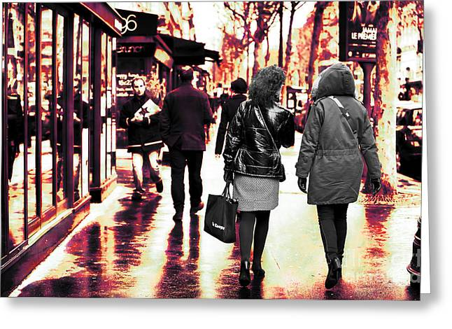Fashion Photos For Sale Greeting Cards - Boulevard Saint-Germain Walk Greeting Card by John Rizzuto
