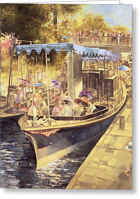 Boat Cruise Greeting Cards - Boulters Lock Greeting Card by Peter Miller