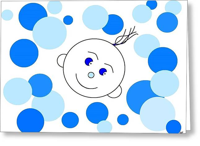 Dazzling Blue Greeting Cards - Bouncing Baby Boy Greeting Card by Will Borden