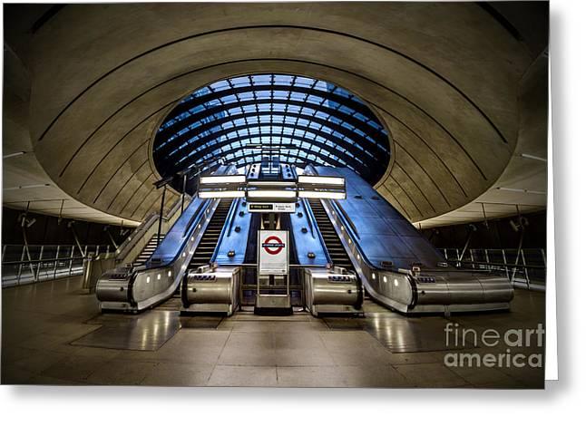 Escalator Greeting Cards - Bound For The Underground Greeting Card by Evelina Kremsdorf