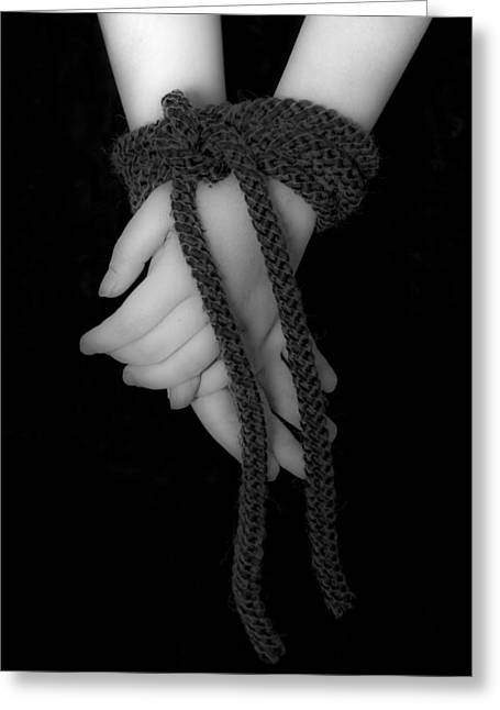 Black Tie Photographs Greeting Cards - Bound Hands Greeting Card by Joana Kruse