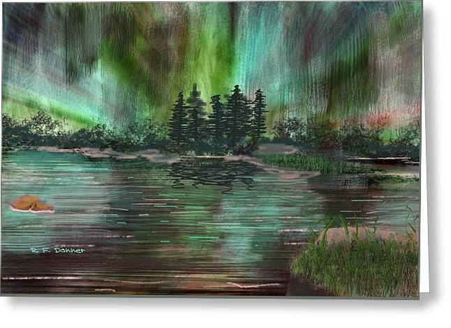 Boundary Waters Drawings Greeting Cards - Boundry waters Northern Lights Greeting Card by Bob Donner