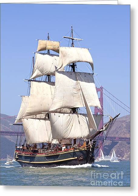 Sailing Ship Greeting Cards - Bounty and the Golden Gate Greeting Card by Rick Pisio