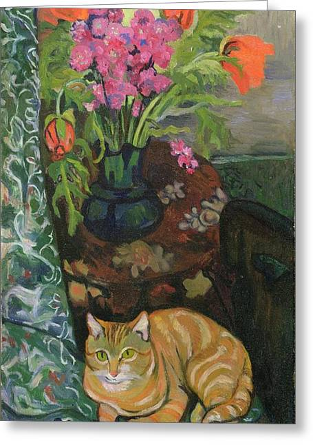 Interior Still Life Paintings Greeting Cards - Bouquet and a Cat Greeting Card by Marie Clementine Valadon