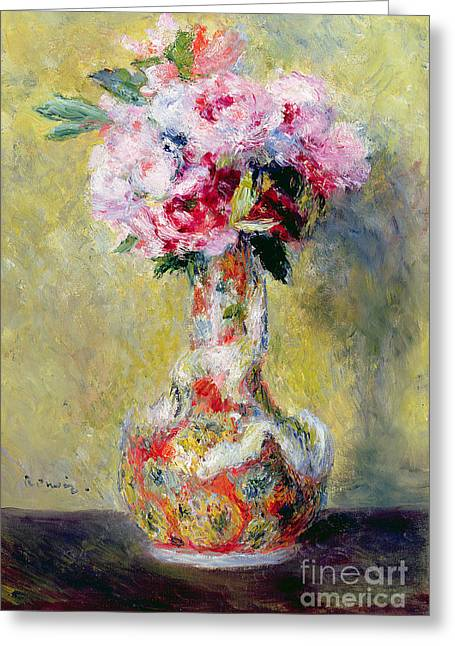 Roses Greeting Cards - Bouquet in a Vase Greeting Card by Pierre Auguste Renoir
