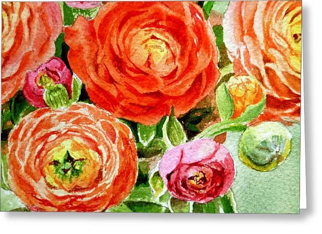 Ranunculus Bouquet Greeting Card by Irina Sztukowski