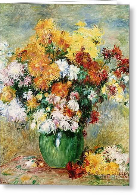 Chrysanthemum Greeting Cards - Bouquet of Chrysanthemums Greeting Card by Pierre Auguste Renoir