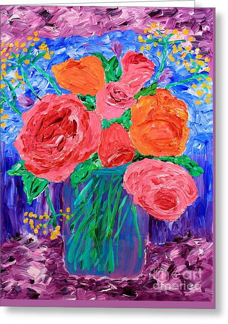 Bouquet Of English Roses In Mason Jar Painting Greeting Card by Beverly Claire Kaiya