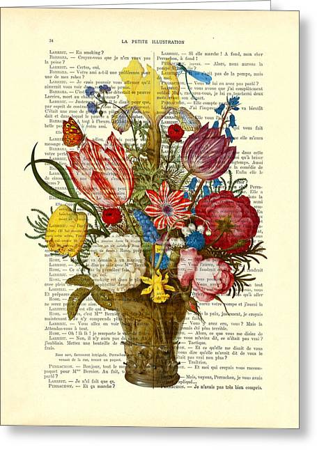 Bouquet Of Flowers On Dictionary Paper Greeting Card by Madame Memento