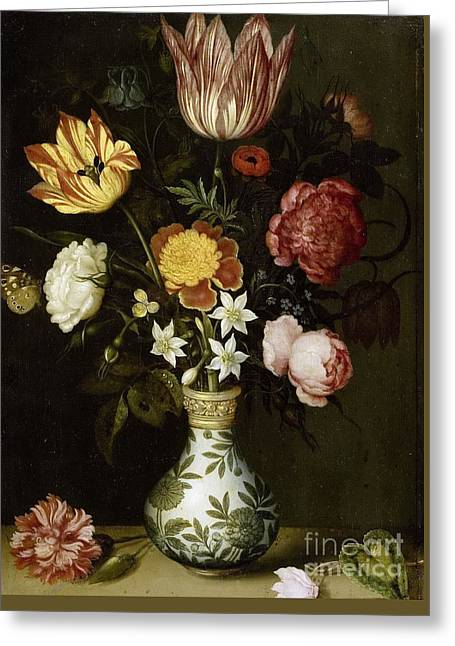 Ledge Greeting Cards - Bouquet of flowers on a ledge  Greeting Card by Celestial Images