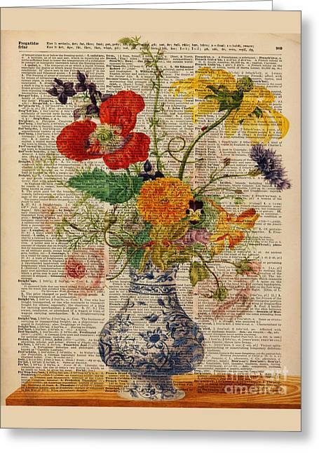 Transfer Greeting Cards - Bouquet of flowers over dictionary page Greeting Card by Jacob Kuch