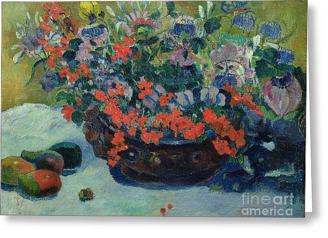 Bouquet Greeting Cards - Bouquet of Flowers Greeting Card by Paul Gauguin
