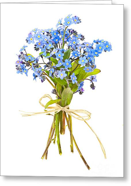 Bouquet Greeting Cards - Bouquet of forget-me-nots Greeting Card by Elena Elisseeva