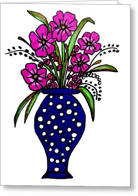 Vase Of Flowers Drawings Greeting Cards - Bouquet of Loveliness Greeting Card by Michelle DeLore