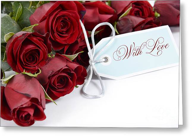 Christmas Greeting Greeting Cards - Bouquet of red roses on white background. Greeting Card by Milleflore Images