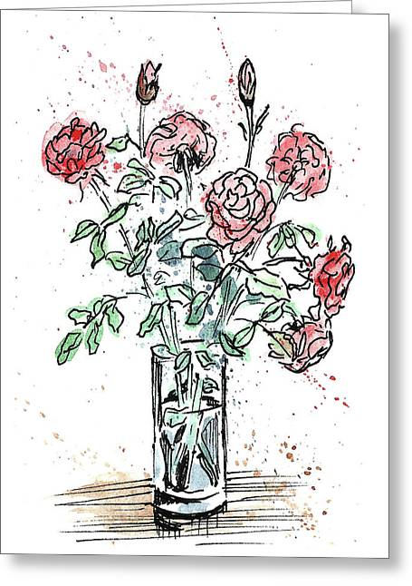Bouquet Of Roses In A Vase Greeting Card by Masha Batkova