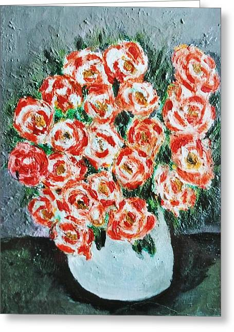 Bouquet Of Roses In The Vase Greeting Card by Giuseppe Fassina