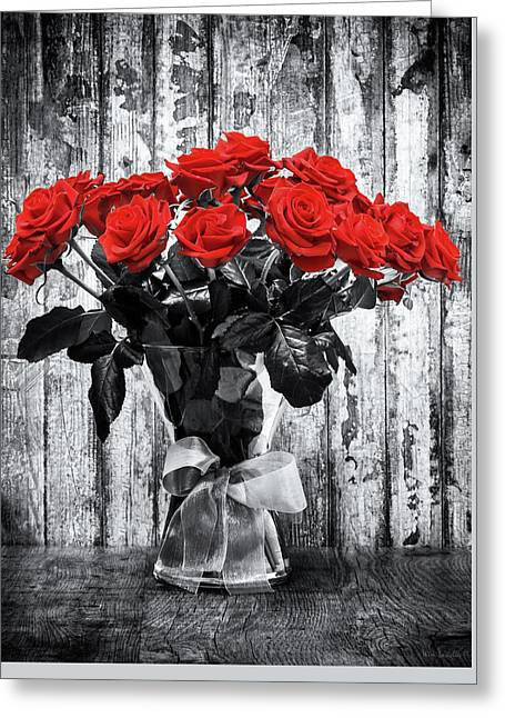 Bouquet Of Roses Greeting Card by Wim Lanclus