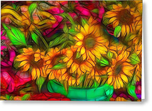 Vitrail Greeting Cards - Bouquet of Sunflowers Greeting Card by Jean-Marc Lacombe