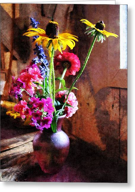 Bouquet With Black-eyed Susans And Phlox Greeting Card by Susan Savad