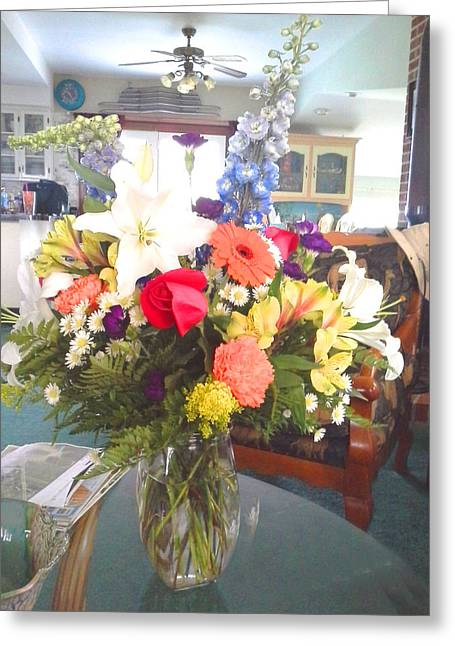 Interior Still Life Paintings Greeting Cards - Bouquet1 Greeting Card by Bobette Stanbridge
