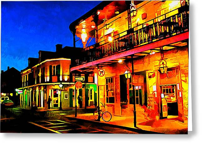 Throwing Food Greeting Cards - Bourbon Street 2 Greeting Card by Dennis Wickerink