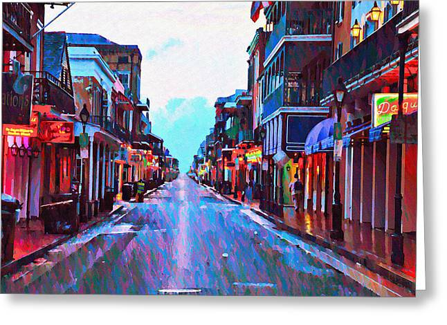 Bill Cannon Greeting Cards - Bourbon Street at Dawn Greeting Card by Bill Cannon