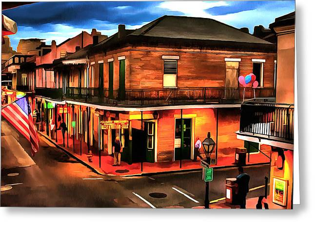 Throwing Food Greeting Cards - Bourbon Street Greeting Card by Dennis Wickerink